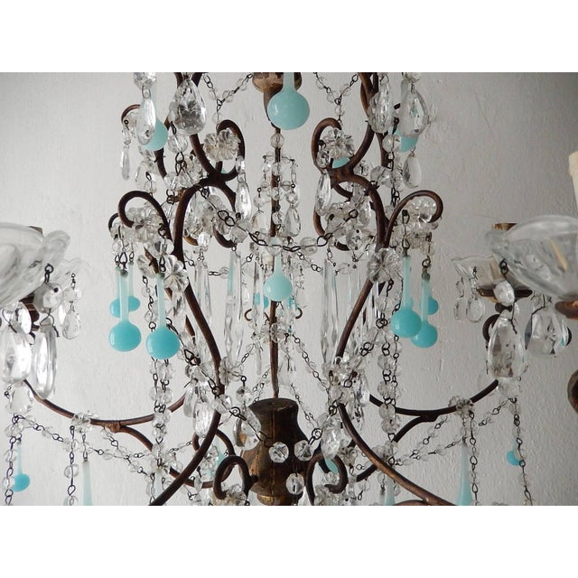 French Robins Egg Blue Opaline Beaded Chandelier, circa 1890 For Sale - Image 6 of 12