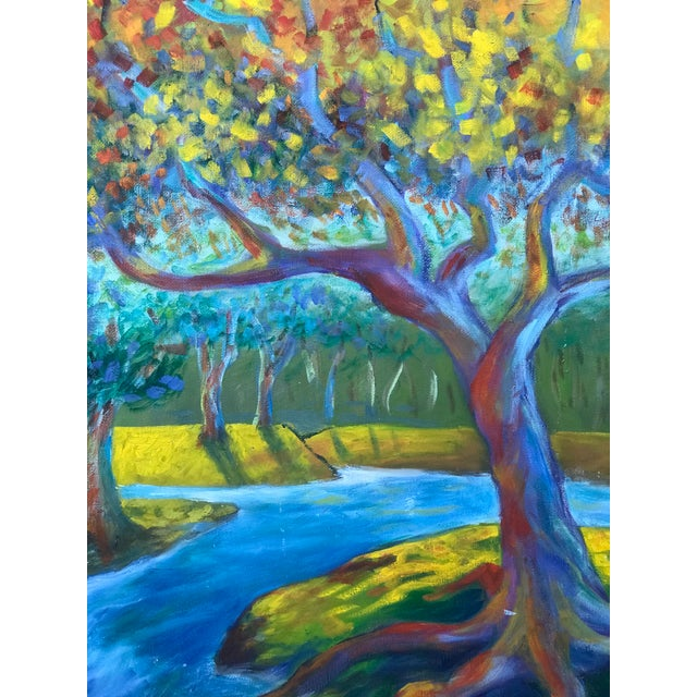 Modern Mid 20th Century Modern Impressionist Style Landscape Oil Painting, Framed For Sale - Image 3 of 6