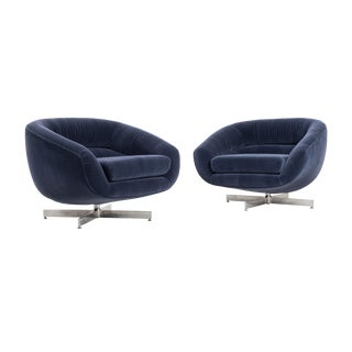 1960s Mid-Century Modern Milo Baughman Mohair Lounge Chairs - a Pair