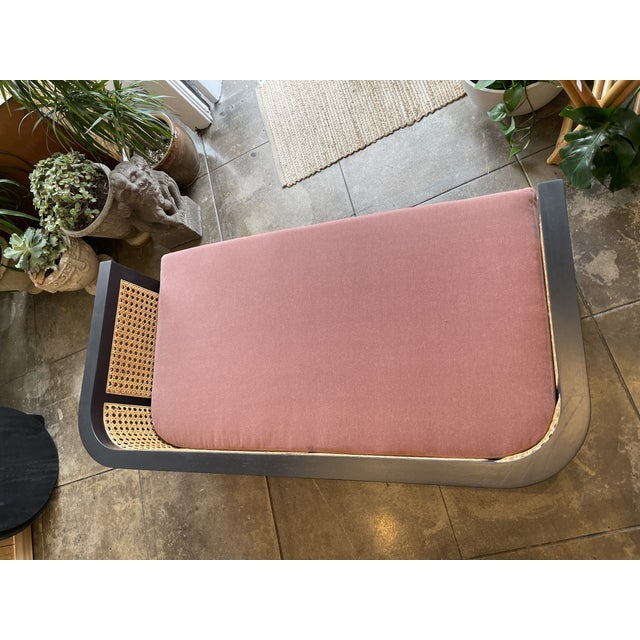 Caned Back Sofa in Mauve Mohair For Sale In Los Angeles - Image 6 of 7
