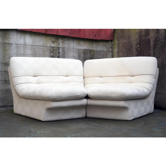 Wood 1970s Vladimir Kagan for Preview 2 Piece Modular Sectional Lounge Chairs - a Pair For Sale - Image 7 of 11