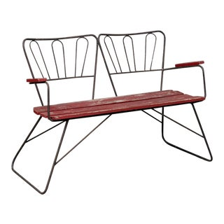 Mid Century Garden Steel Bench Settee For Sale
