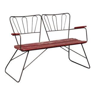 Mid Century Garden Steel Bench Settee For Sale