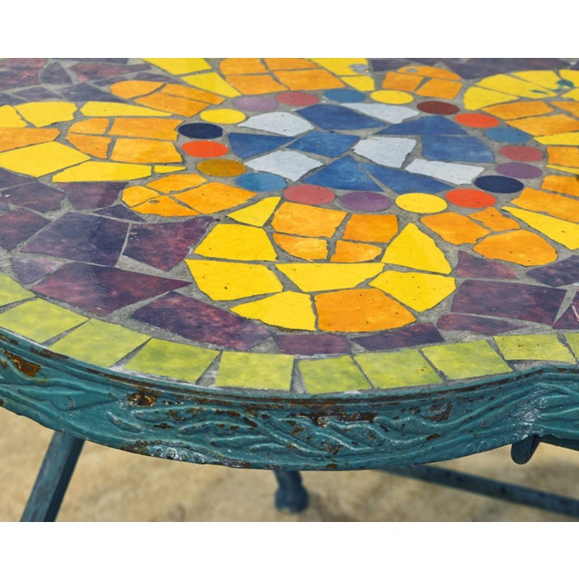 Unique Painted Iron and Inlaid Ceramic Mosaic Butterfly Chairs - a Pair For Sale - Image 9 of 13