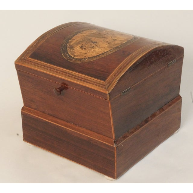 Early 19th Century Circa 1820 English Georgian Style Mahogany and Satinwood Casket For Sale - Image 5 of 12