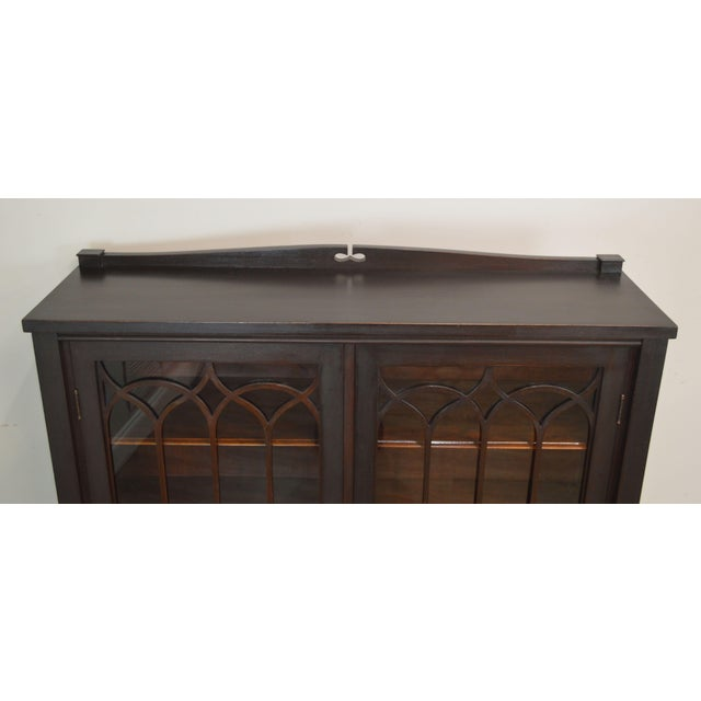 Brown Antique Gothic Inspired Mahogany 2 Door Bookcase For Sale - Image 8 of 12