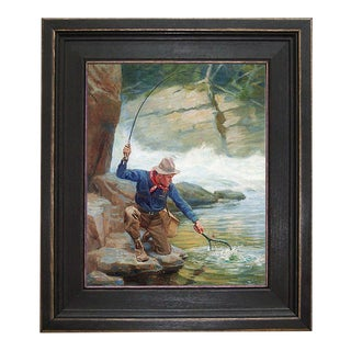 Trout Fishing Reproduction on Canvas Framed Painting For Sale