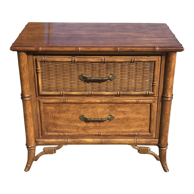 1980s Fretwork Faux Bamboo Cane Nightstand For Sale