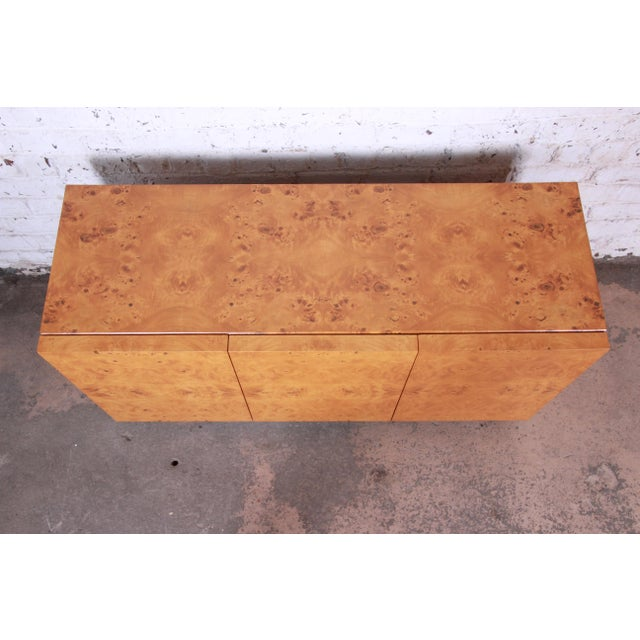 1970s Milo Baughman Burled Olive Wood Sideboard Credenza, Newly Refinished For Sale - Image 5 of 11