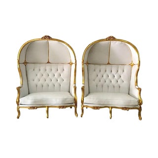 Modern White Leather Throne Tufted Balloon Chairs- a Pair For Sale