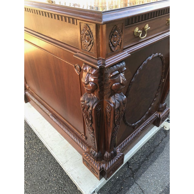 Mahogany Chippendale Style Double Pedestal Partners Desk For Sale - Image 9 of 12