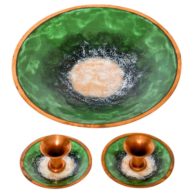 Copper Enameled Copper Bowl & Candle Holders For Sale - Image 7 of 7