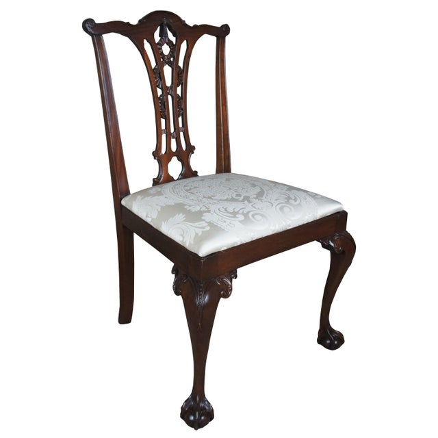 Chippendale Chippendale Style Ribbon Back Dining Chairs Ball & Claw Side Accent - a Pair For Sale - Image 3 of 13