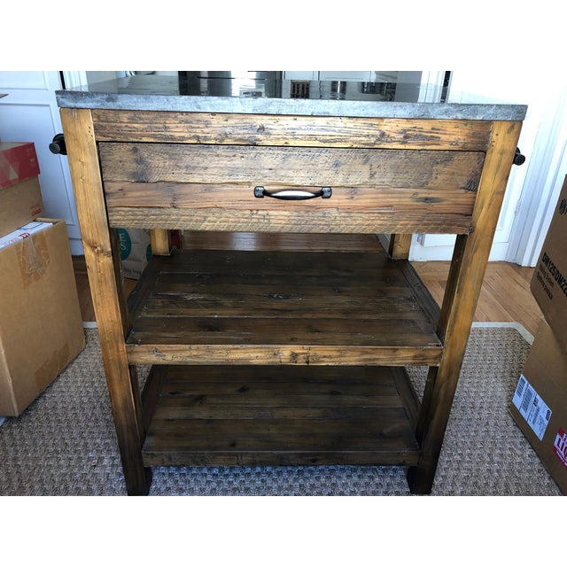 Crate & Barrel Bluestone Reclaimed Wood Small Kitchen Island