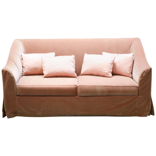 Christian Liaigre Modern Sofa in Pink Velvet with 4 Pillows For Sale - Image 13 of 13