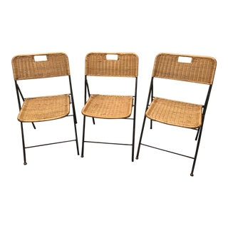 Vintage Wicker and Black Metal Folding Chairs - Set of 3