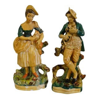 Borghese Hand Painted Chalkware Mantel Figurines - a Pair For Sale