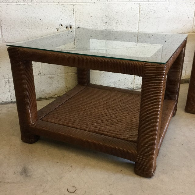 Boho Chic Janus Et Cie Wicker & Glass Top End Tables For Sale - Image 3 of 11