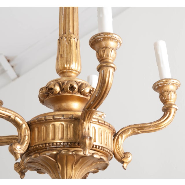 19th Century French 19th Century Louis XVI Style Giltwood Five-Light Chandelier For Sale - Image 5 of 9