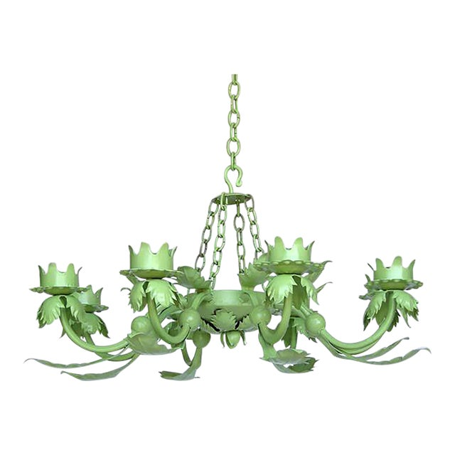 Painted Wrought Iron Chandelier For Sale