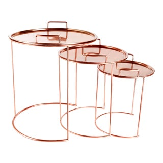 Contemporary Copper Nesting Tables - Set of 3