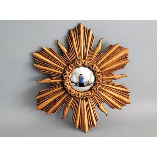 French Carved Gilt Wood Convex Sunburst Mirror - Image 2 of 7