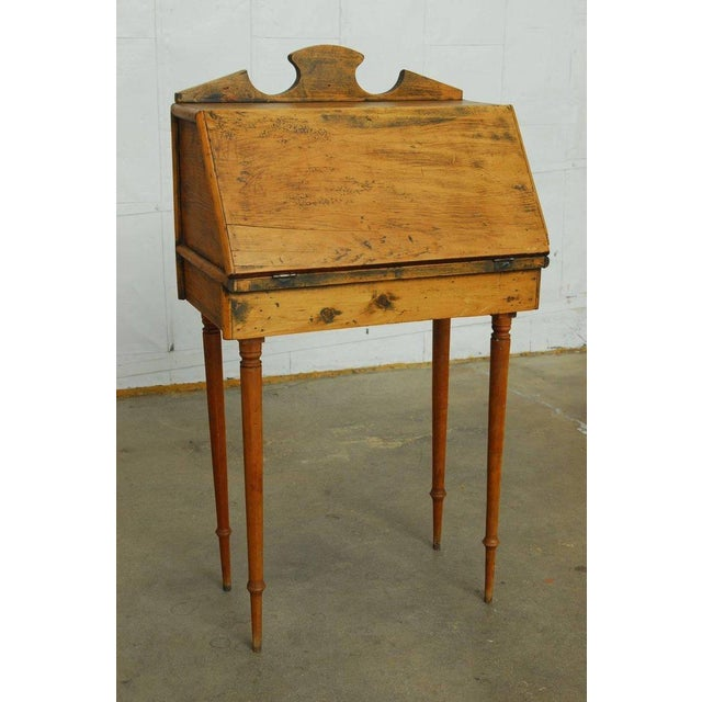 19th Century Diminutive Pine Slant Front Desk For Sale - Image 9 of 11