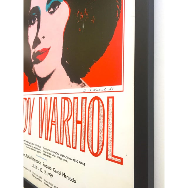 "Andy Warhol Rare Vintage 1989 Iconic Lithograph Print Framed Italian Exhibition Large Pop Art Poster "" Liz "" 1964 For Sale - Image 10 of 13"