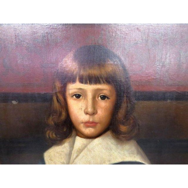 Mid 19th Century Oil on Canvas Portrait of 2 Children For Sale - Image 5 of 8