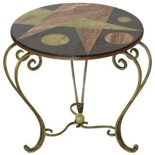 Wrought Iron Side Table with Black Marble Top with Geometric Inlays, circa 1940s For Sale