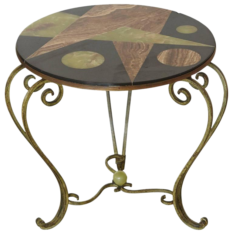 Wrought Iron Side Table With Black Marble Top With Geometric Inlays, Circa  1940s   Image