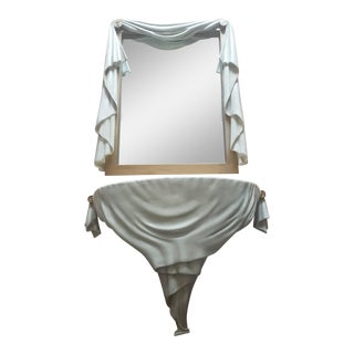 1980s Vintage Sculptural Mirror and Console Shelf-A Pair For Sale