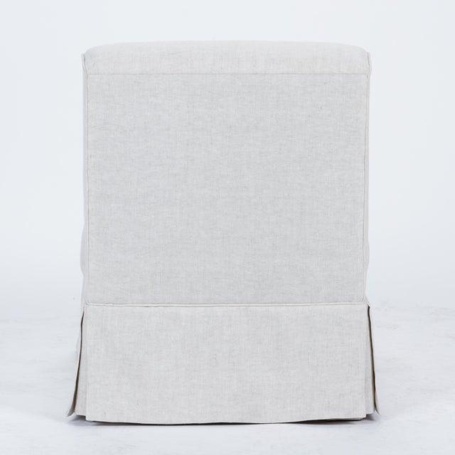 Casa Cosima Casa Cosima Baldwin Skirted Slipper Chair in Oatmeal Linen For Sale - Image 4 of 8