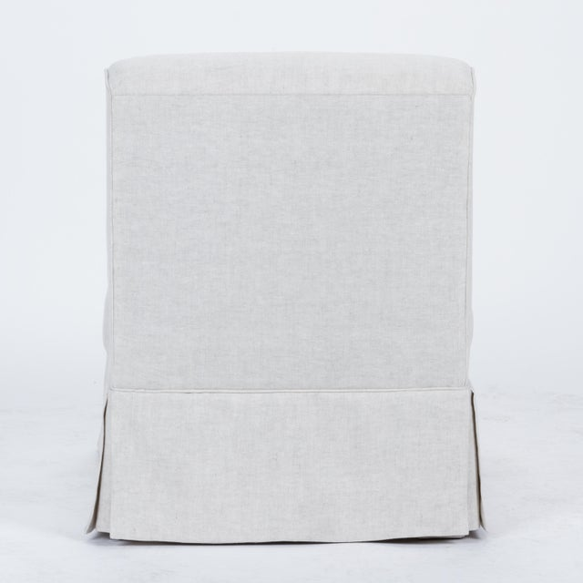 Casa Cosima Casa Cosima Skirted Slipper Chair in Oatmeal Linen For Sale - Image 4 of 8