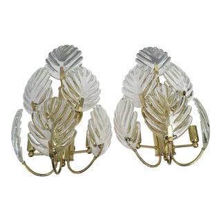 Brass& Crystal Palm Leaf Sconces, a Pair