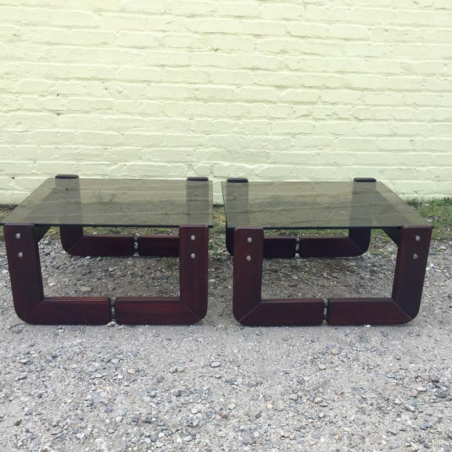 Mid-Century Modern Smoked Glass & Rosewood Side Tables by Percival Lafer For Sale - Image 3 of 9