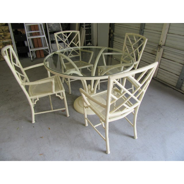 Metal Chippendale Meadowcraft Aluminum Patio Set - 5 Pieces For Sale - Image 7 of 9