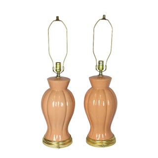 1980s Palm Beach Peach Regency Post Deco Ceramic Scalloped Urn Lamps by Wescal - a Pair For Sale