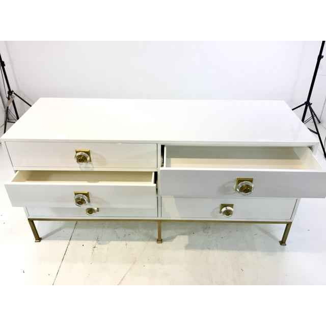 Contemporary Contemporary White Lacquer Six Drawer Dresser For Sale - Image 3 of 6