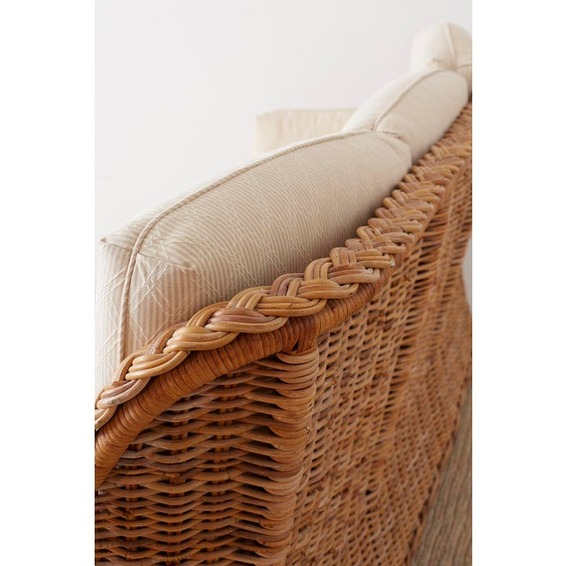 Tan Pair of Organic Modern McGuire Style Rattan Wicker Sofas For Sale - Image 8 of 13