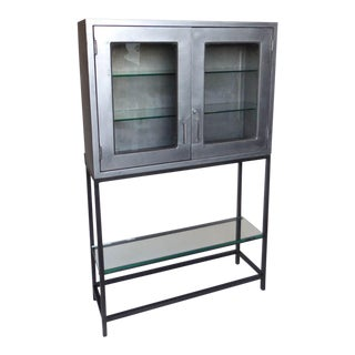 Vintage Metal Dentist Cabinet With Glass Doors and Custom Iron Base For Sale