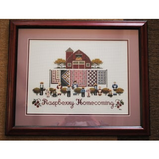 Amish Style Raspberry Homecoming Cross Stitch Textile Art Preview