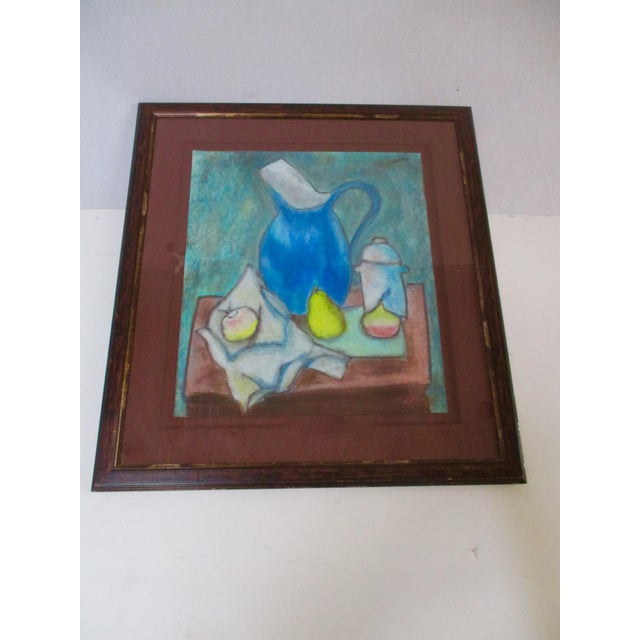 Still Life Blue Water Pitcher & Fruit Painting - Image 4 of 8