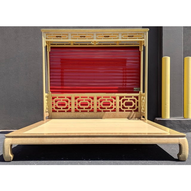 Chippendale Fretwork Ming Platform Lacquered King Size Canopy Bed For Sale - Image 13 of 13