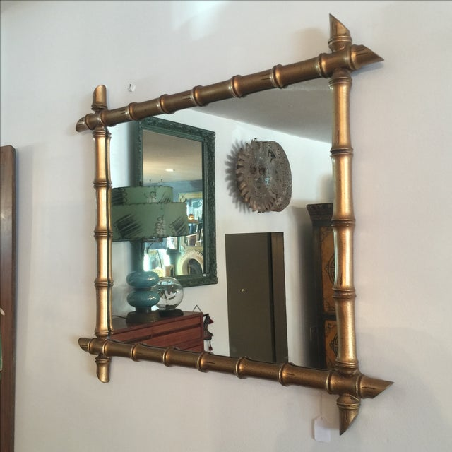 Hollywood Regency Gilded Bamboo Mirror - Image 3 of 7