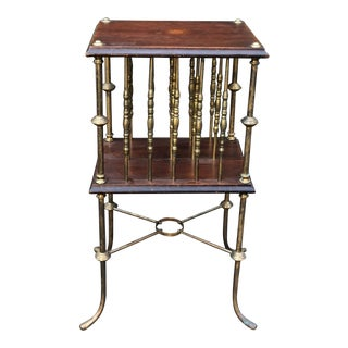 Unusual Antique Directoire Mahogany & Bronze Magazine Stand For Sale