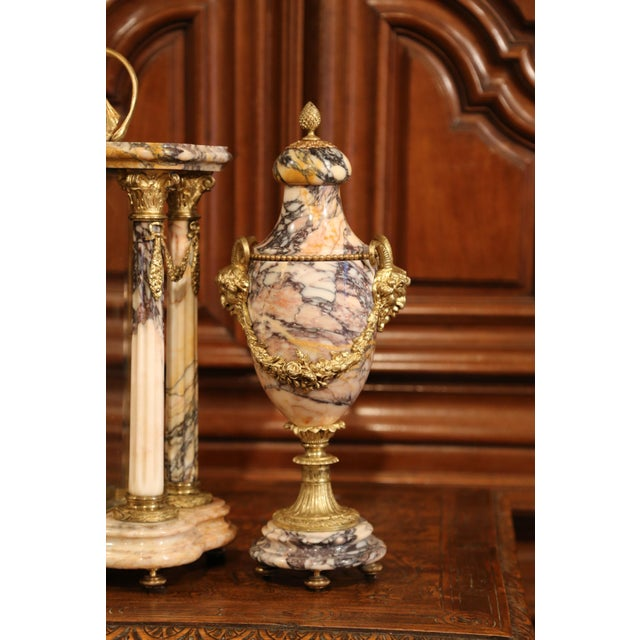 Bronze 19th Century French Marble and Bronze Mantel Clock With Matching Cassolettes For Sale - Image 7 of 13