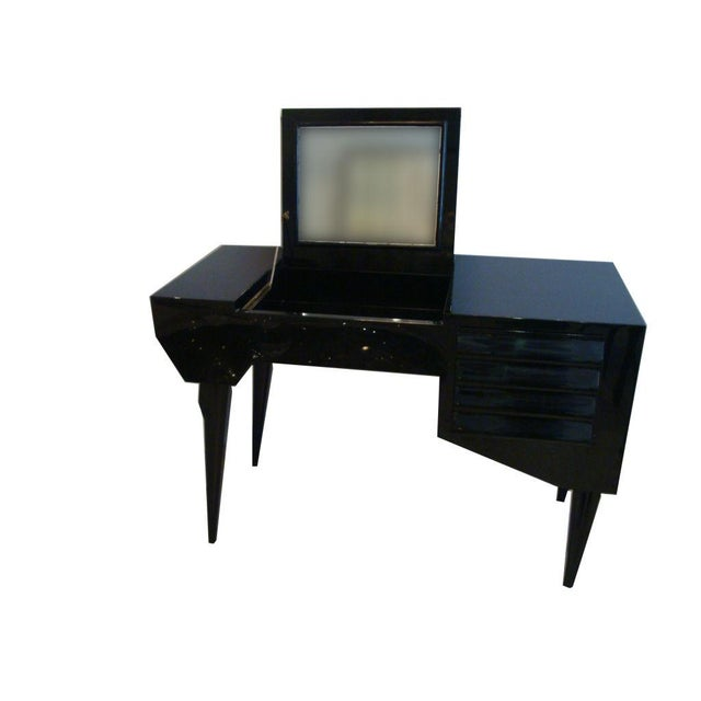 Mid-Century Modern Vanity or Dressing Table in Black Lacquer Mid-Century Italy For Sale - Image 3 of 5