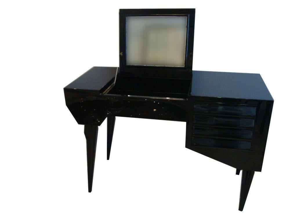 Vanity Or Dressing Table In Black Lacquer Mid Century Italy   Image 3 Of 5