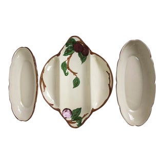 1960s Franciscan Gladding McBean Apple Pattern Relish Dishes - Set of 3 - Set of 3 For Sale